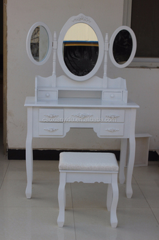 French Style Dressing Table With 3 Mirrors And Chair