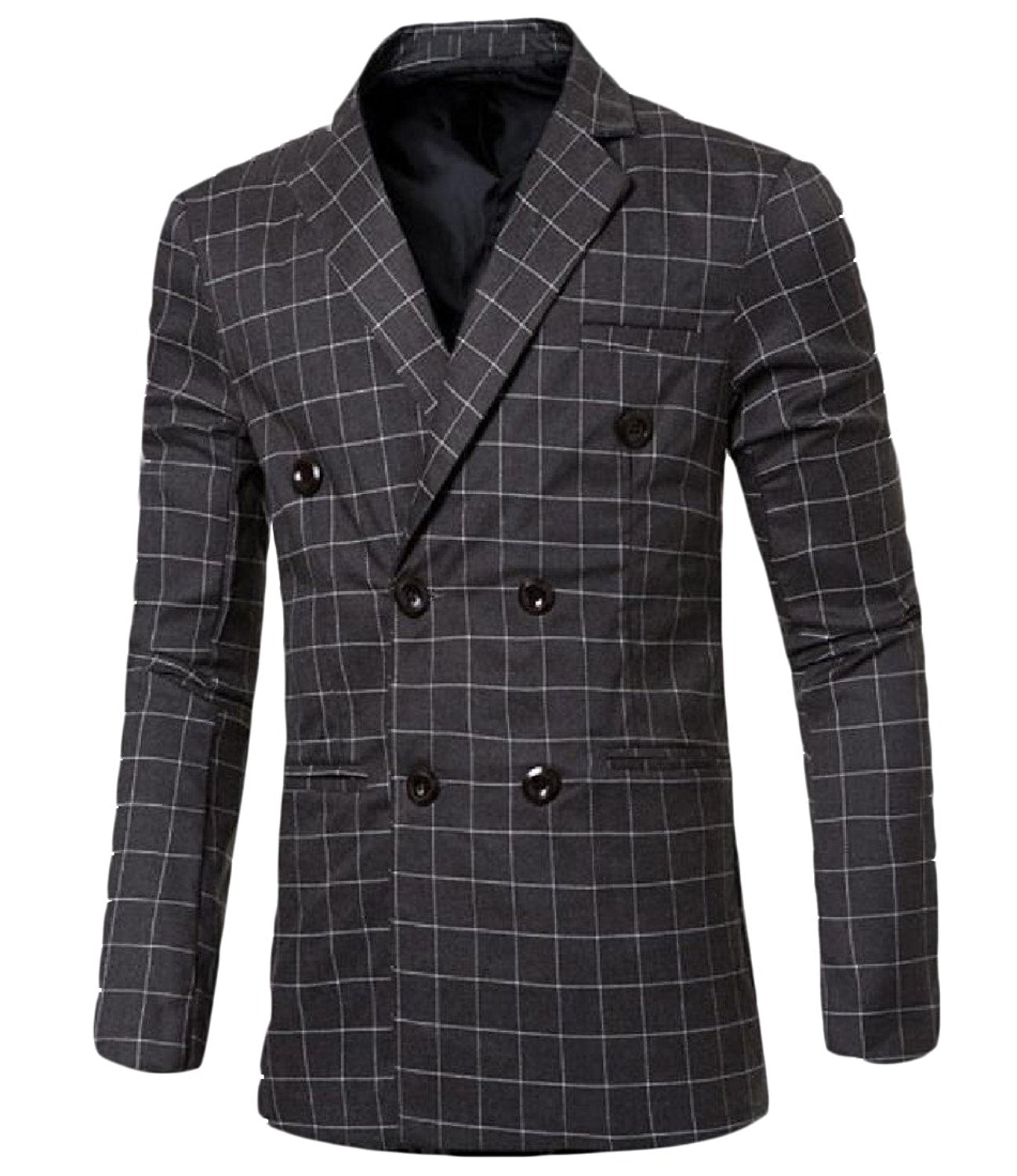 Comfy Men's Trim-Fit Plaid Double-breasted Soft Blazer Jacket Suit