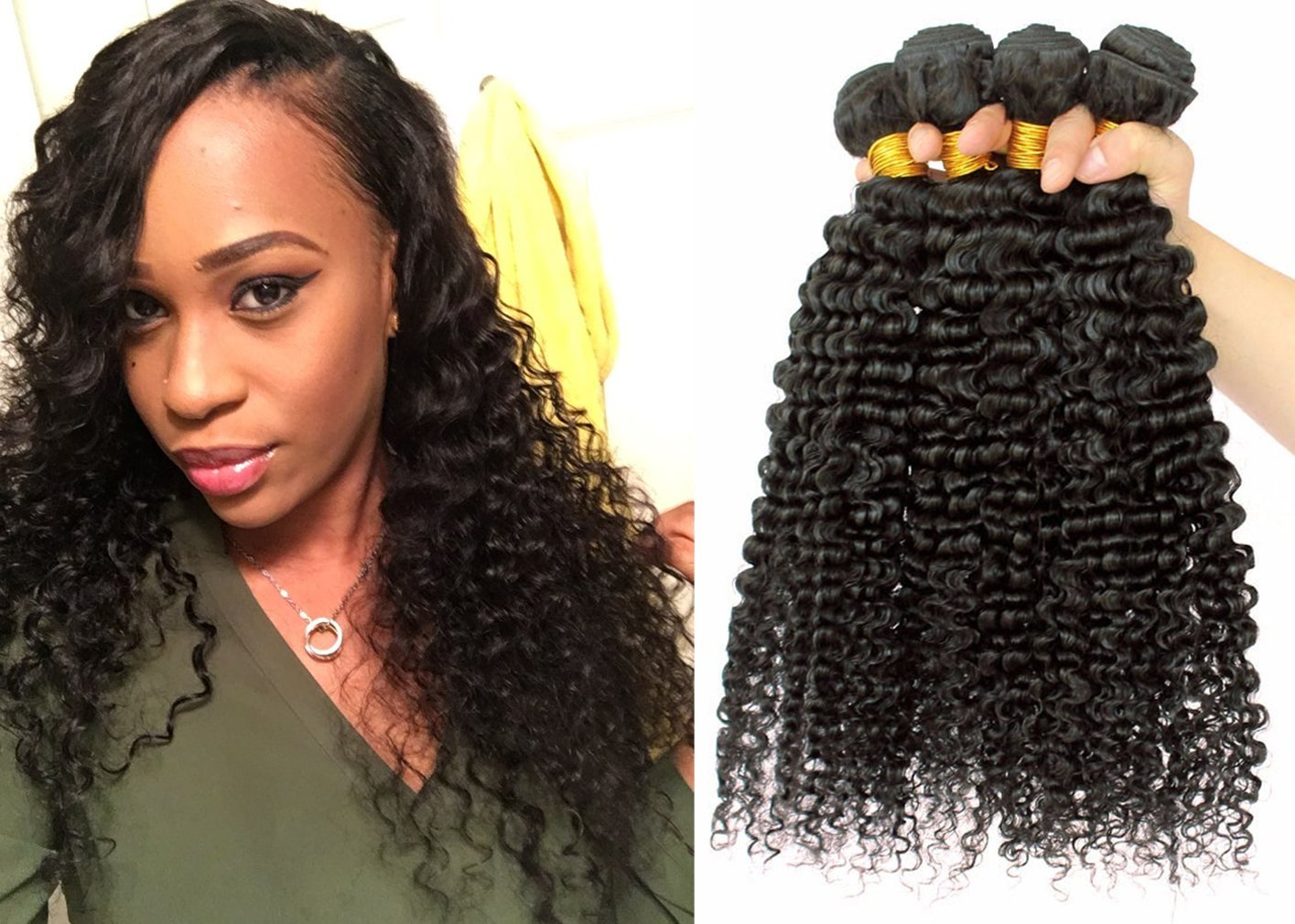 Buy 3 Bundle Deals Babe Hair 7a Kinky Curly Weave Human Hair Afro