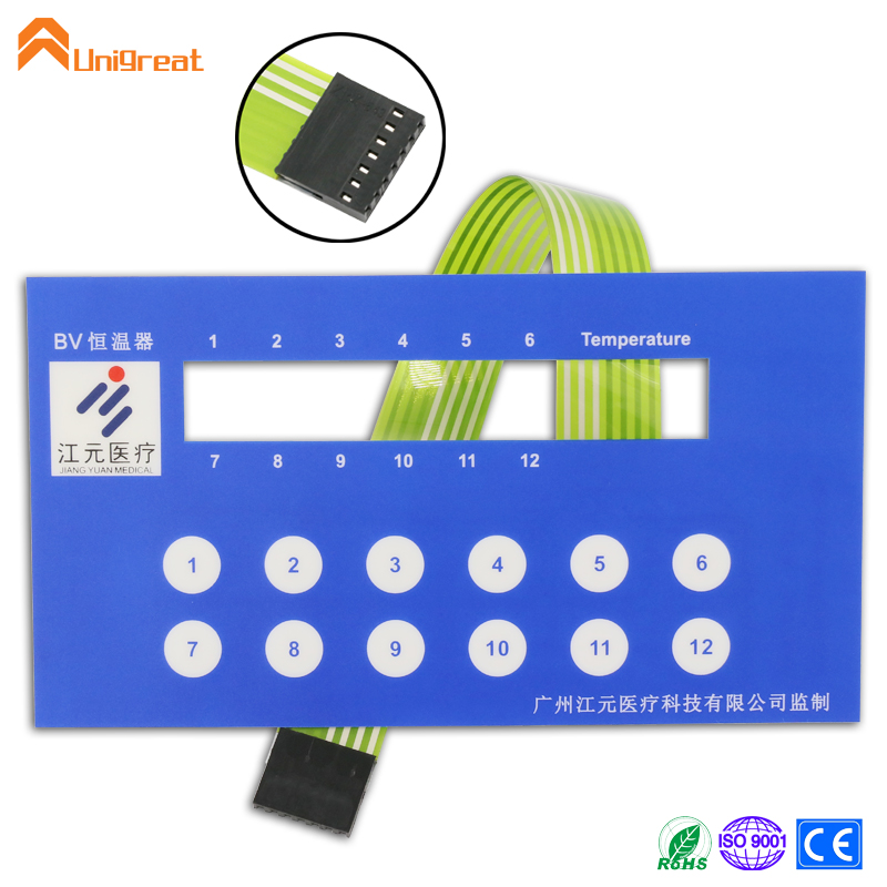 Durable water resistant waterproof ROHS CE approved metal dome tactile glossy matte finish membrane switch keypad panel