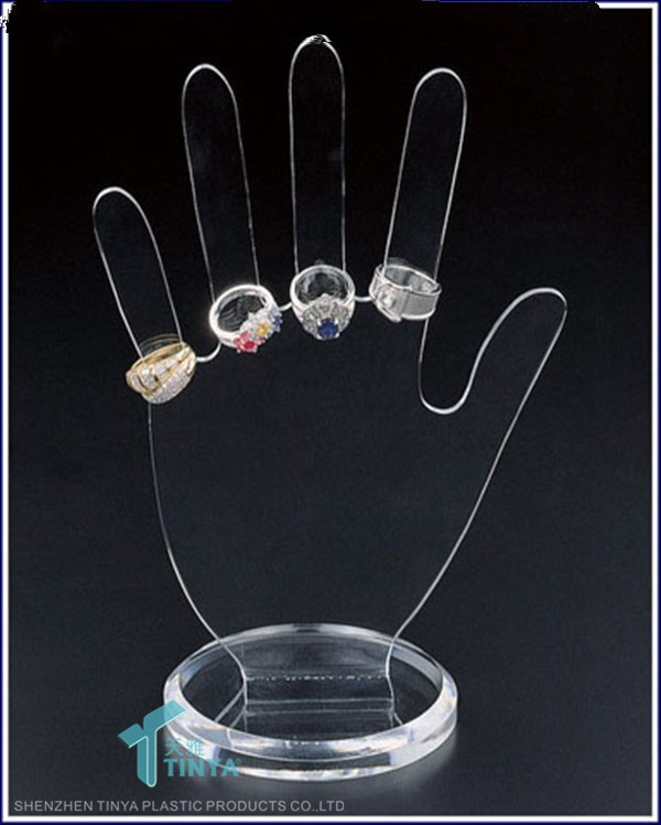 2016 Hand Shape Custom Jewelry Ring Display Organizer,Jewellery Window Counter Stand,Wholesale Clear Acrylic Ring Display Stand