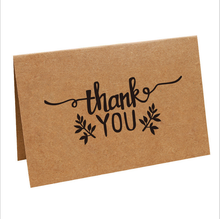 100 Custom mini luxury Thank You kraft paper greeting for your purchase Cards Set printing With Blank Inside for Writing