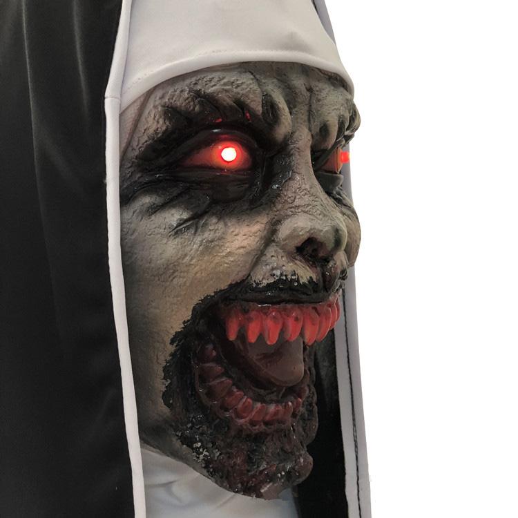 Halloween Latex Cosplay Horror Volledige Hoofd Nun Masker met Led Verlichting