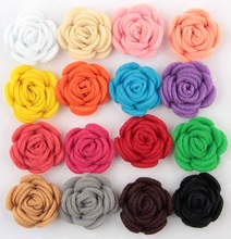 Free Shipping 2015 New 60pcs lot 16colors Fashion handmade felt rose flower Diy for hair accessories