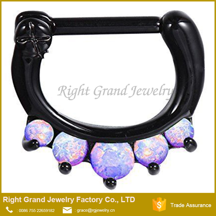 Black Plated Hinged Septum Clicker Hanger Daith Nose Ring Hoop Cartilage Synthetic Purple Opal