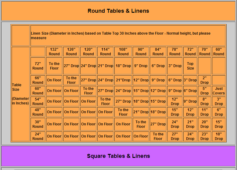 wedding table size chart. plain polyester white wedding round table cloth with runner size chart u