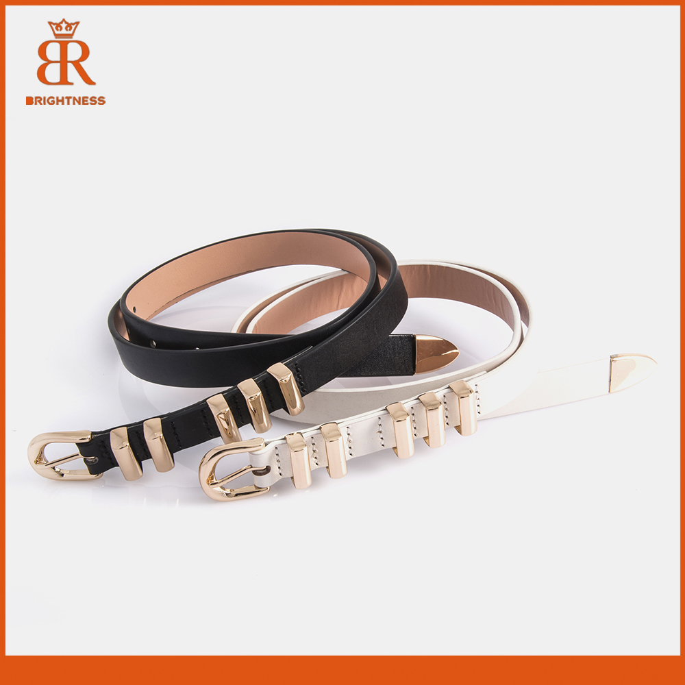 Western fashion leather belts silver genuine belts for dresses slim genuine leather belt