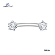 Starbeauty 1 шт. 1,2x8 мм синий Bijoux звезда бровей Пирсинг для пупка Labret 16 г кольцо для живота белая спираль прокалывания ушей пирсинг ювелирные издел...(Китай)