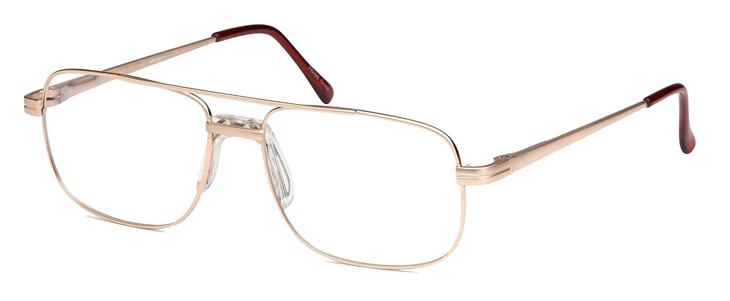 69be82164fb Get Quotations · DALIX Mens Bridged Large Squared Prescription Glasses  Frames (Copper