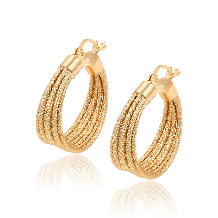 91554 fashion high quality 18k gold plated hoop earrings, hot sale gold earrings for women