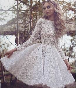 ZH3671G Said Mhamad Short A Line Wedding Dresses Long Sleeves Jewel Neck Mini Short Wedding Bridal Gowns Full Lace Custom Made