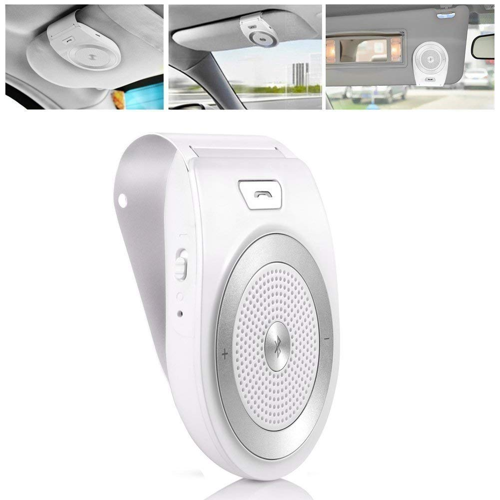Bluetooth Car Speakerphone Kits Bluetooth 4.1 Hands-Free Motion AUTO-ON Car Kit Stereo Music Speaker Wireless Sun Visor Audio Receiver Player Adapter Connect 2 Phones At Same Time