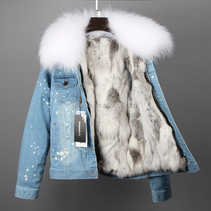 Raccoon fur collar coat and real rex rabbit fur lining removable hooded denim jean jacket woman parka