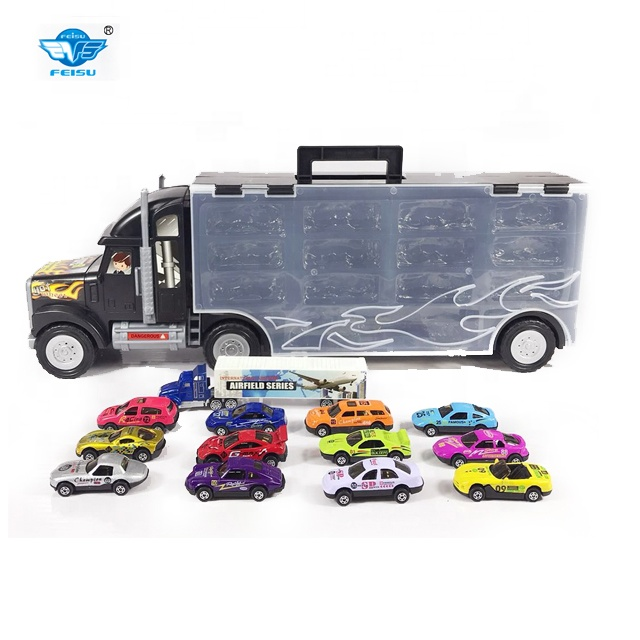 Big Carrying Truck Toy Include 13 Pcs Diecast Cars For Boys And