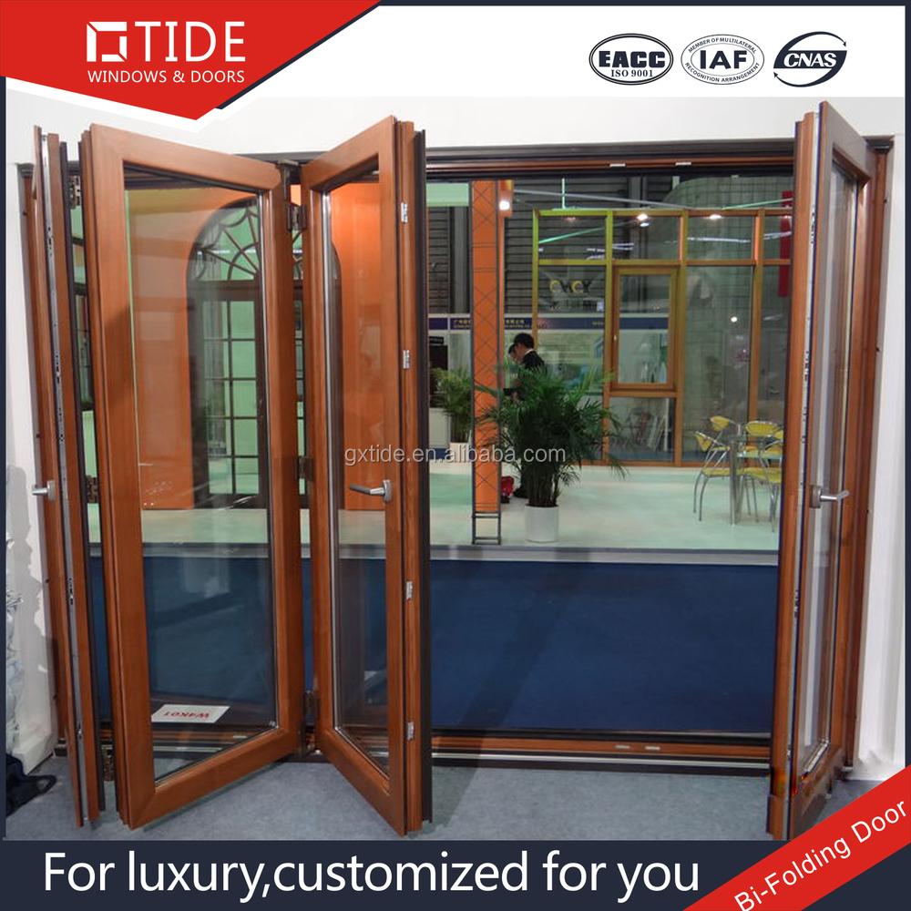 Aluminum and wood sliding bi folding patio door buy wood for Large folding patio doors