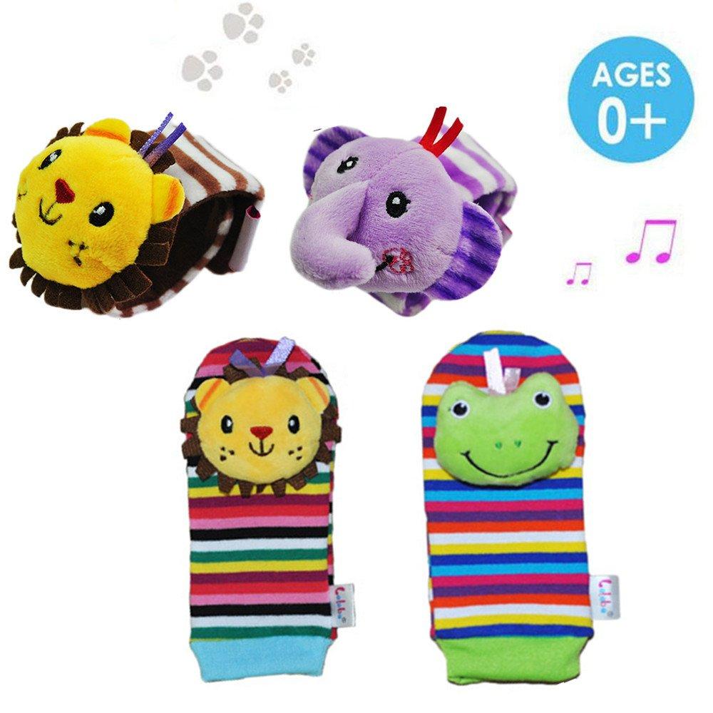 Daisy 4 Packs Adorable Animal Infant Baby Wrist Rattle & Foot Finder Socks Best Gift Developmental Toys Set - Lion and Elephant