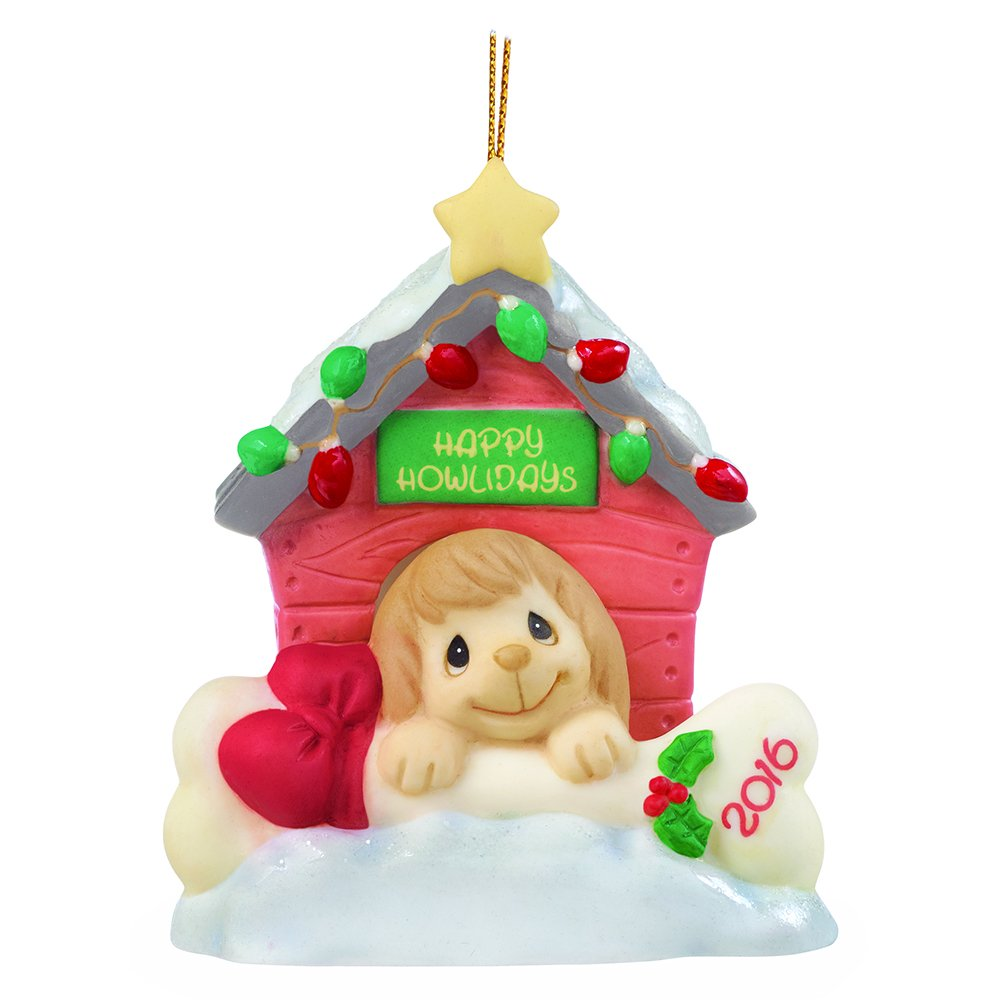 """Precious Moments, Christmas Gifts, """"Home For The Howlidays"""", Dated 2016, Bisque Porcelain Ornament, #161008"""