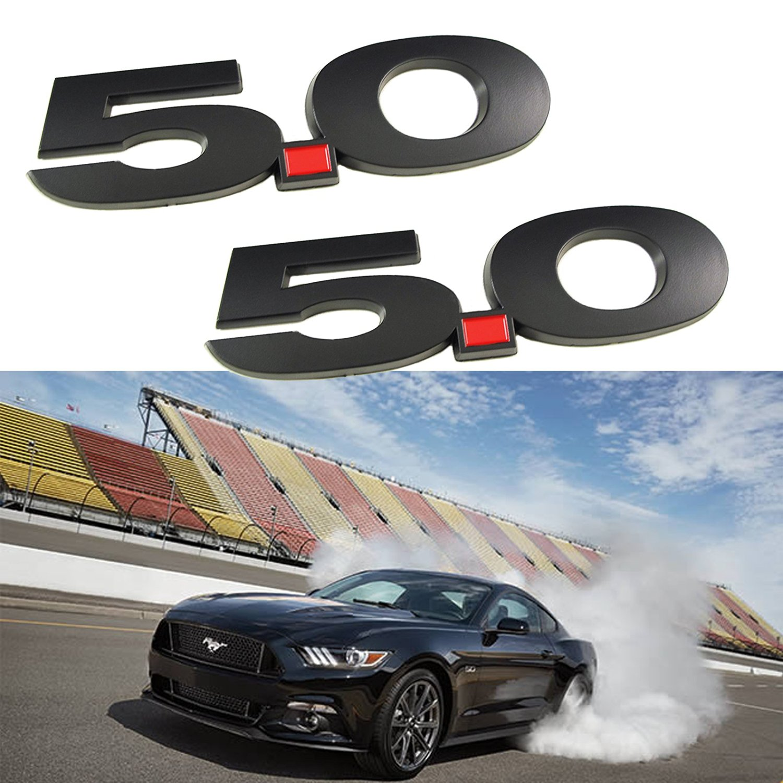 Xotic Tech 2x Side Badge Sticker 3D Logo 5.0 Liter Matte Black Fender Emblems For 2011 2012 2013 2014 Ford Mustang Cars