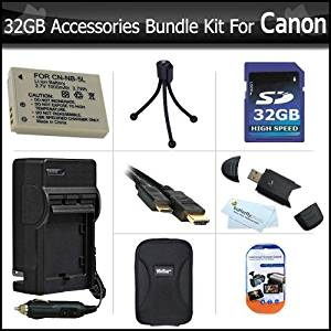 32GB Accessories Bundle Kit For Canon PowerShot SX230HS Digital Camera Includes 32GB High Speed SD Memory Card + Extended (1200 maH) Replacement Canon NB-5L Battery + AC/DC Travel Charger + Hard Case + MIni HDMI Cable + USB 2.0 SD Reader + Much More