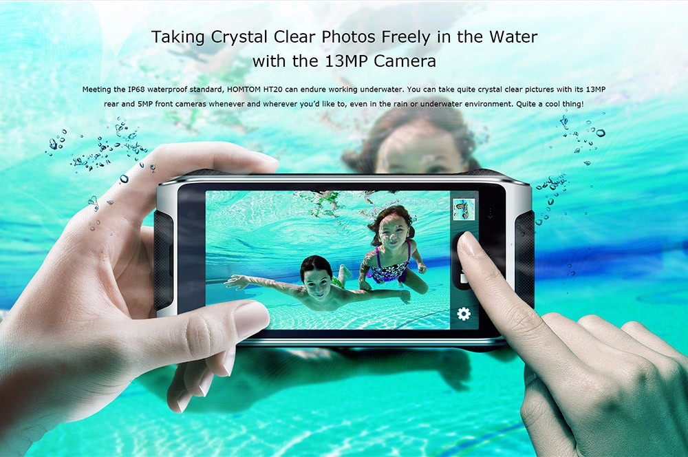 HOMTOM HT20 IP68 Waterproof 4.7inch HD Android 6.0 4G LTE Rugged Phone MT6737 Quad Core 1.3GHz 2GB 16GB 13.0MP TOUCH ID OTG