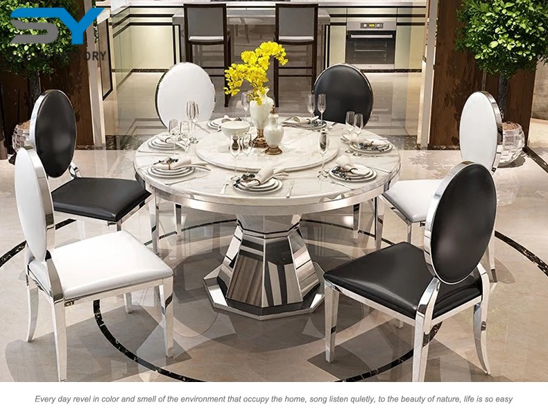 8 Seater Dining Table Stainless Steel Table And Chairs Hot Sales