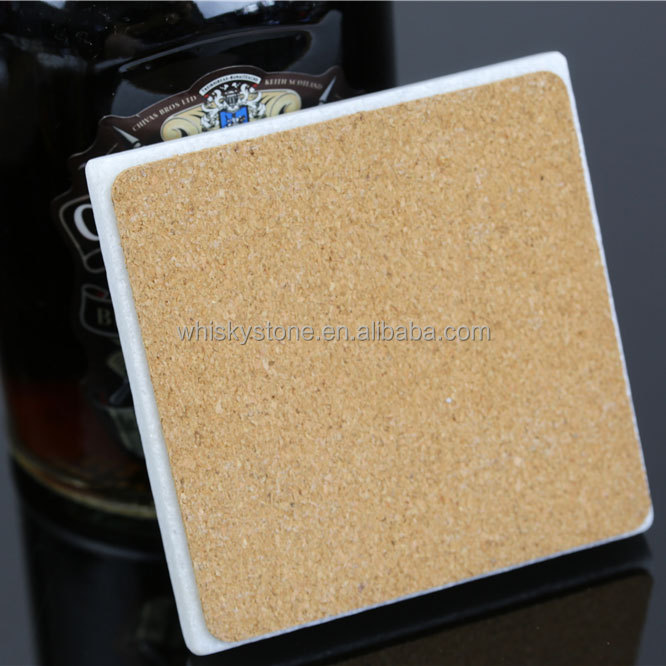 White Marble Coaster a set of 4 stone Coasters with cork bottom for your bar and home drink