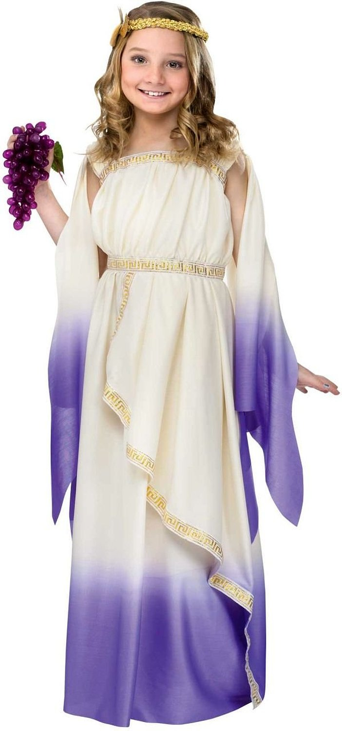 Greek Goddess Child Costume White Purple - Large