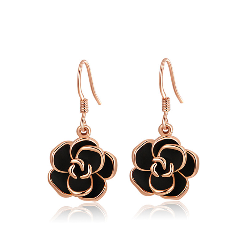 Gold Plated Black <strong>Rose</strong> <strong>Flower</strong> Drop Dangle Hook <strong>Earrings</strong> Party Jewellery <strong>Earrings</strong>