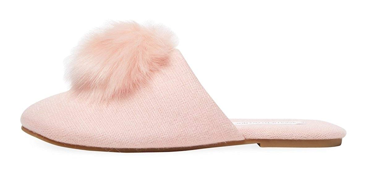 aff6ec21c26 Get Quotations · Two s Company Cozy Pink Slippers With Pom-Pom