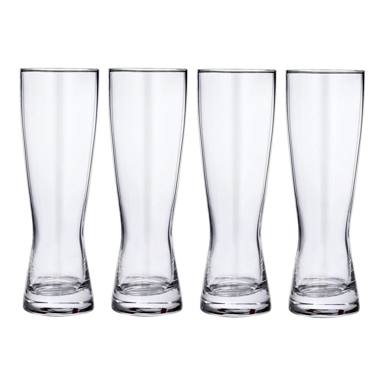 Set of 4 Lead-Free Crystal Pilsner Beer Glasses, 20 Ounces