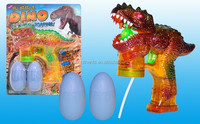 Transparent dinosaur spray paint with music six lights flash two bottles of water bubble gun, children's outdoor toys