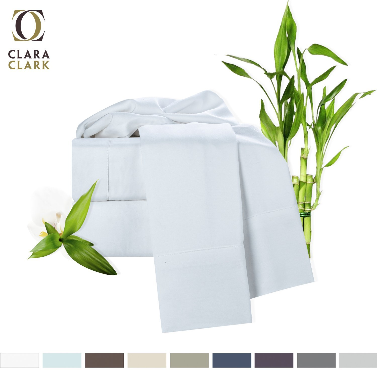 Bamboo Bed Sheet Set, White, King Size, By Clara Clark, 100% Rayon Made From Bamboo Sheets, Luxury Super Silky Soft With Extra Thick Corner Elastic Straps On Fitted Sheet, Machine Washable