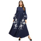 Zakiyyah 7358 New Arrival Umbrella Abaya with Floral Embroidery Muslim Women Cotton Abaya Solid Color