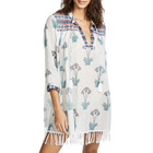 Women V Neck Tasseled Trim Floral Print Cotton Gauze Tunic Blouse