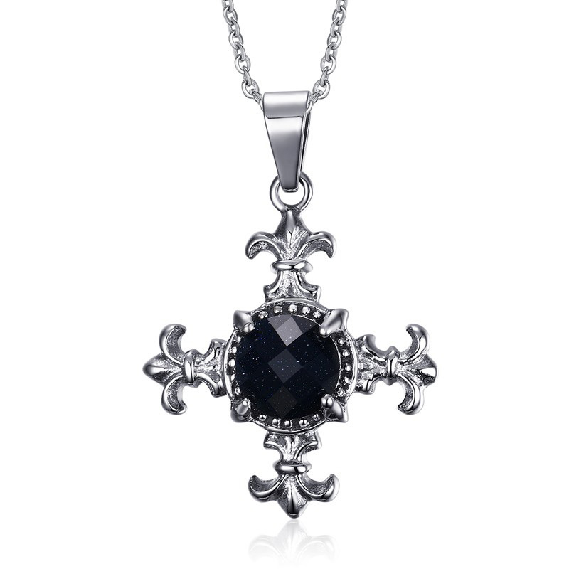Silver Tone Cross Pendant Necklaces Stainless Steel Blue sandstone iris flower Cross Pendant O Chain Necklaces Gifts