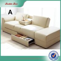 Modern beige multifunction PU leather sofa bed furniture Guangzhou