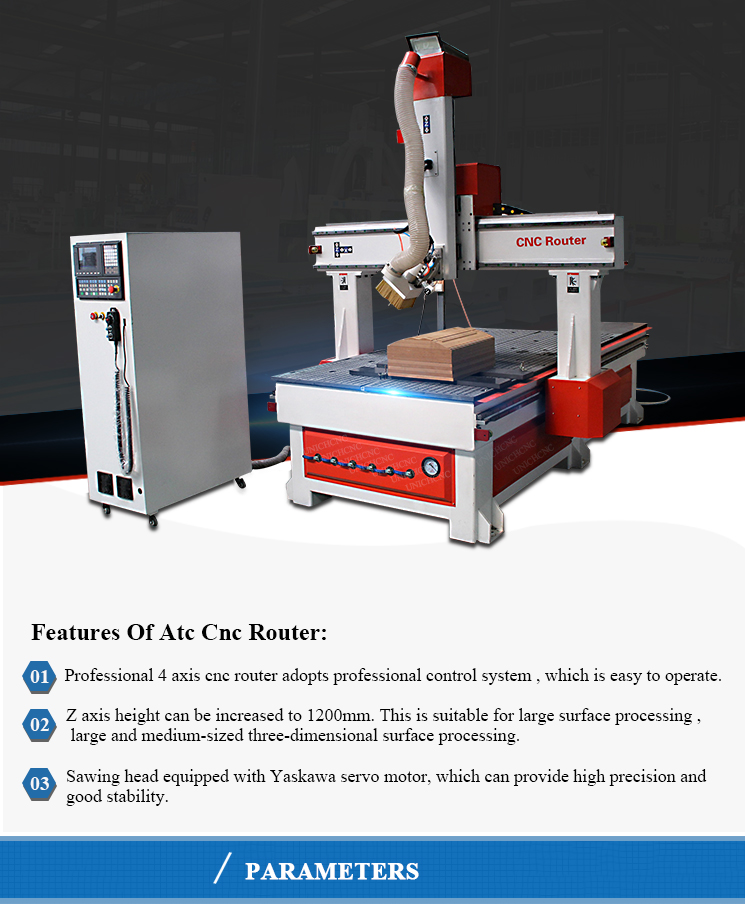 Automatic tool changer 180 degree ATC 4 axis cnc router engraver machine price