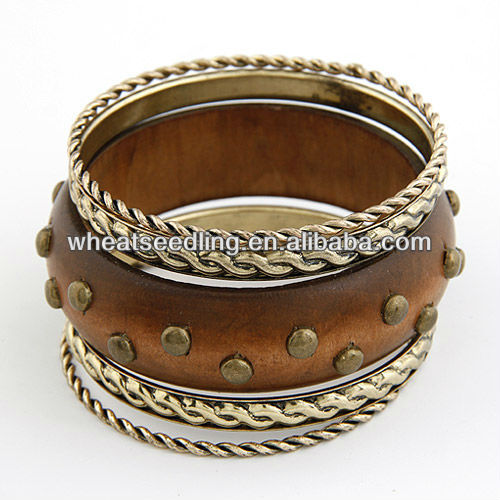 Ancient Rivet Wooden&Metal Bangle Set BG16