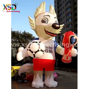 good quality inflatable russia football game mascot / inflatable wolf mascot for football world cup