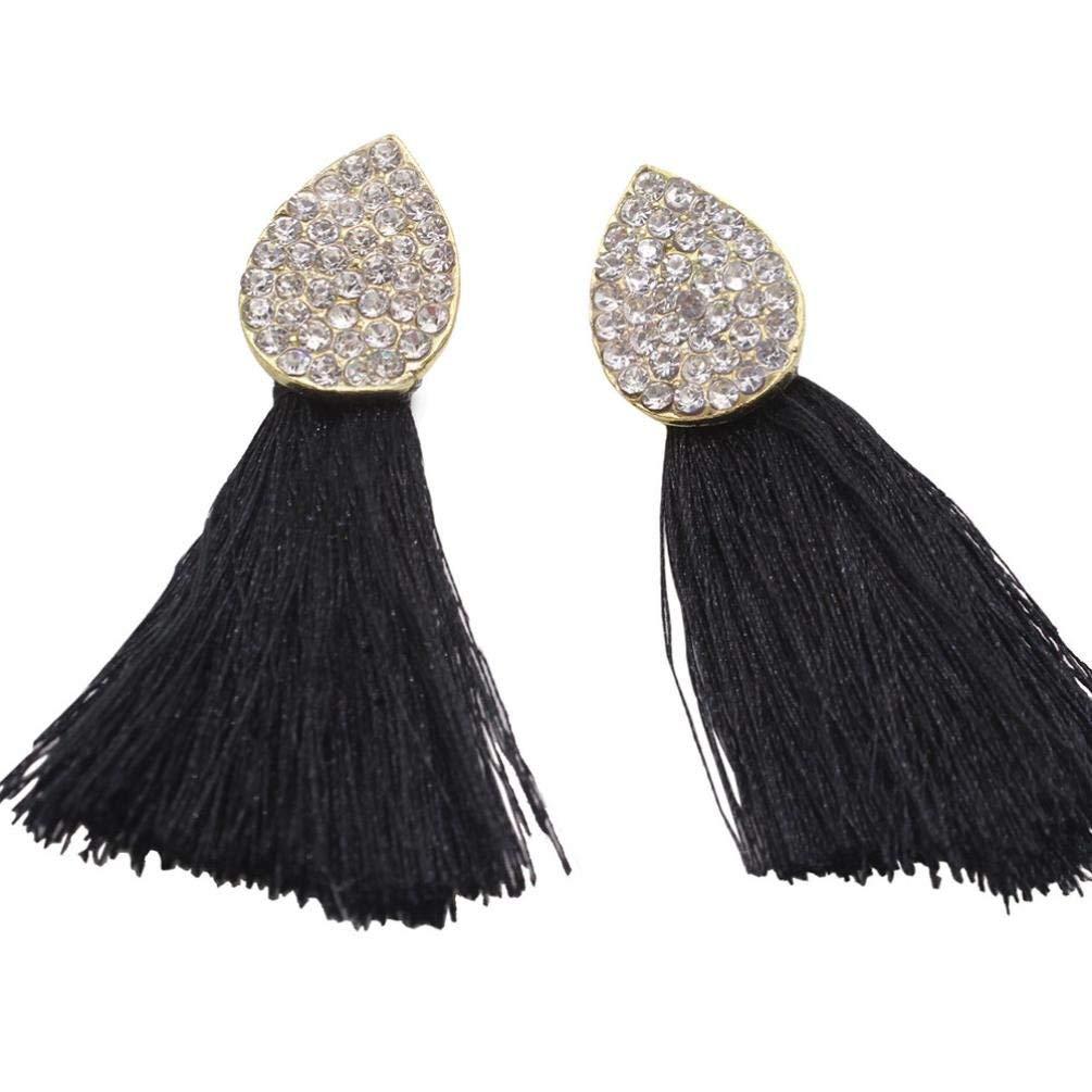 Clearance Deal! Hot Sale! Earring, Fitfulvan 2018 Women Fashion Dangle Ear Earrings Women Long Tassel Fringe Party Jewelry Gift New Mother's Day Gifts Earrings Jewelry (Black)