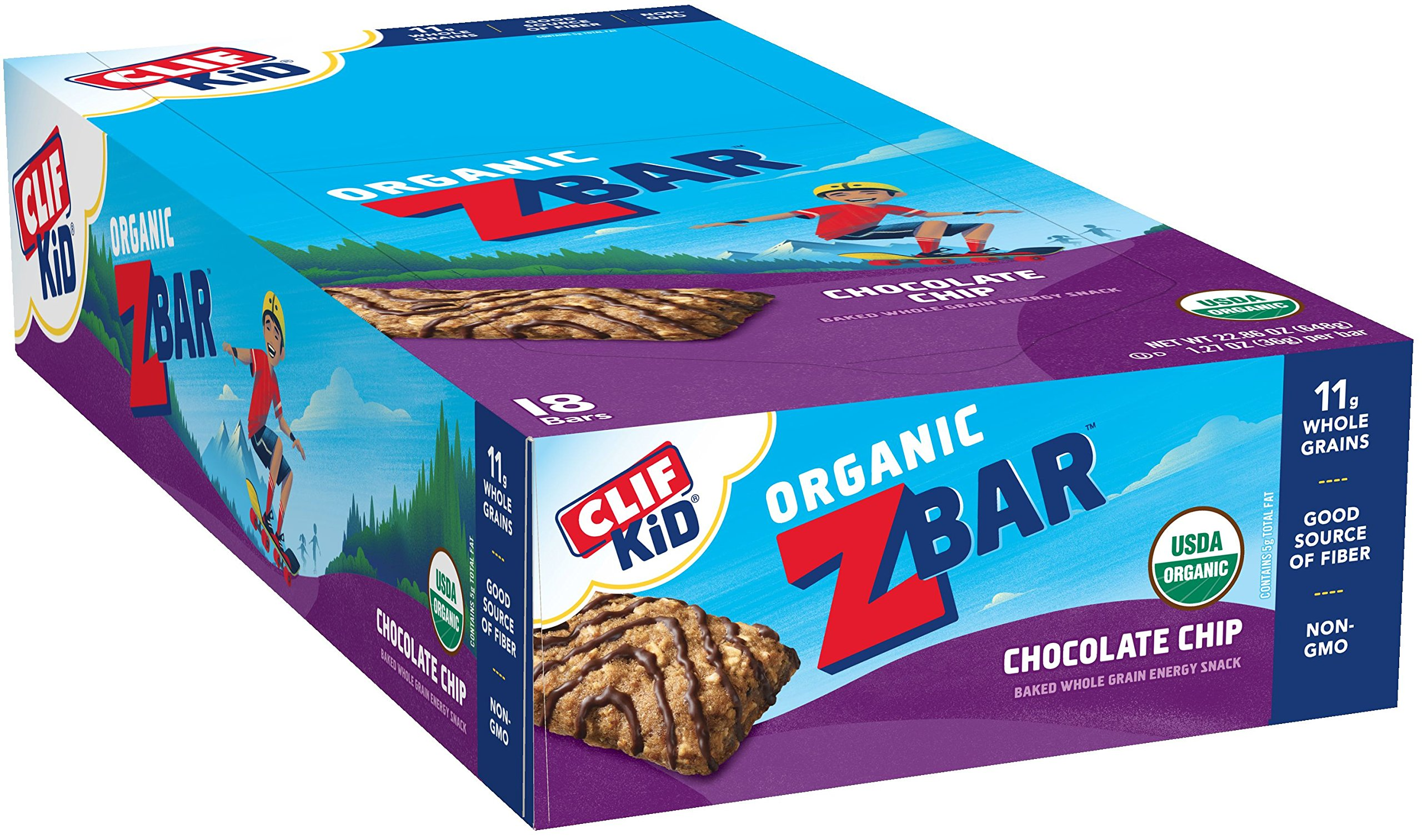CLIF KID ZBAR - Organic Energy Bar - Chocolate Chip - Baked Whole Grain Energy Snack Bar 1.27 Ounce Snack Bar, 18 Count