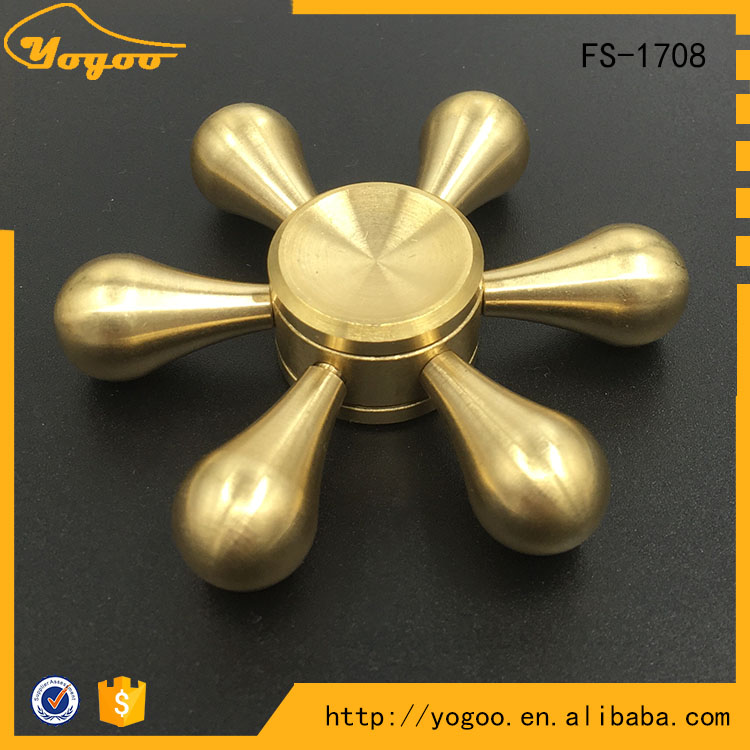 Adult Finger Toys 3D Hexagonal Metallic Hand Spinner Metal Fingertip Gyro