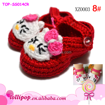 Hot Promotion Girls Boys Winter Warm Crochet Wool Shoes Newborn Red