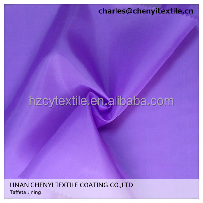 wholesale colorful polyester 210T lining taffeta for coats