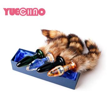 65e375559c2 Adult Sex Toys Sexy Sexual Long Glass Dildo Butt Fox Dog Tail Anal Plug