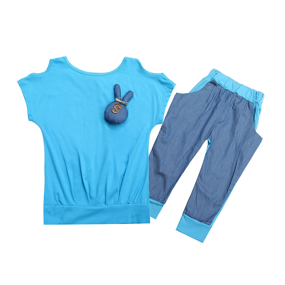 cute rabbit design little girl`s shirts+shorts high quality kids lake blue summer suit
