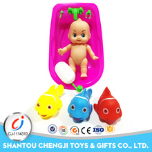 Wholesale small bathing toy 5 inch pretend baby doll reborn with fish