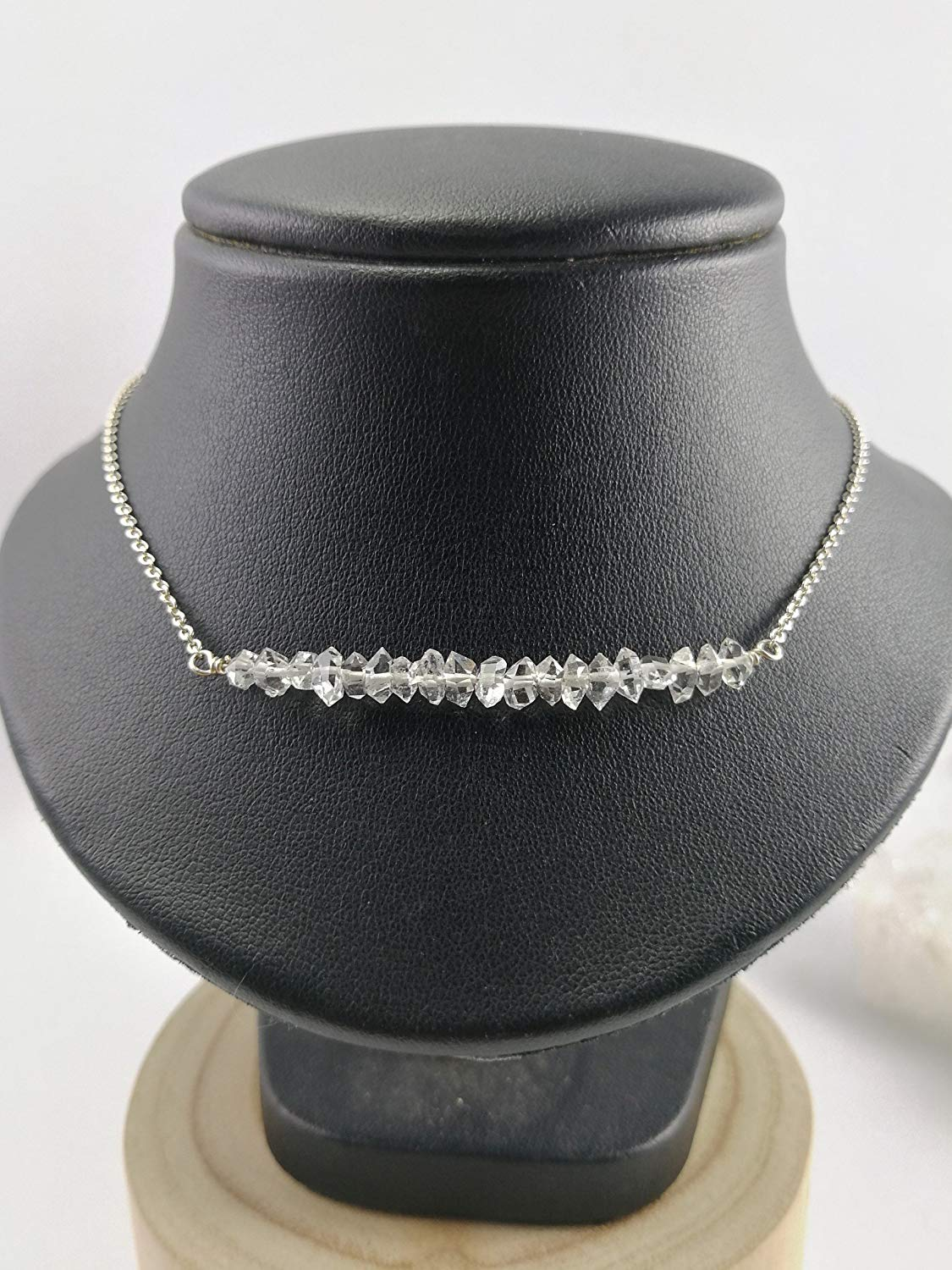 "925 Sterling Silver Herkimer diamond Necklace,925 sterling silver chain,Size 18"",HKL1"