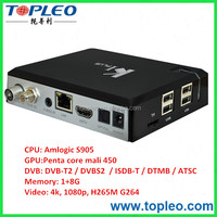 Amlogic S905 S2+T2 Media Player K1 Plus with DVB T2/S2 Android STB/DVB/tv box