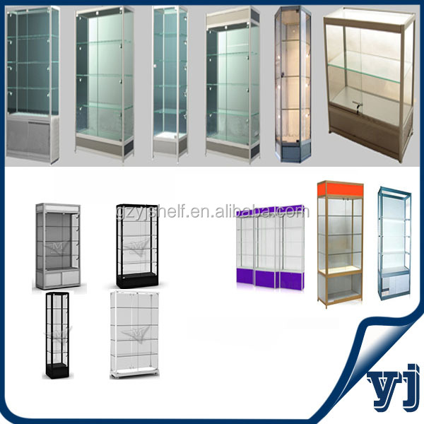 2014 Series of Free Standing Tempered Glass Showcase for Display